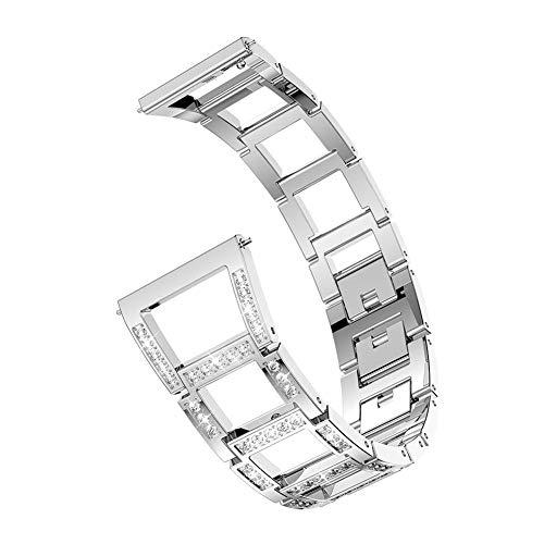 YouN Crystal Hollow Uhrenarmband für Samsung Galaxy Watch 46mm (Silber) (Womens Crystal Uhren)