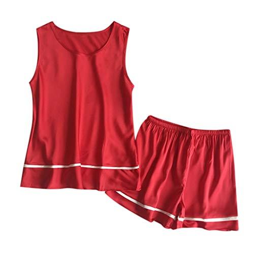 TYTUOO Womens Sleepwear Sexy ärmellose Shorts Pyjama Nachtwäsche Set