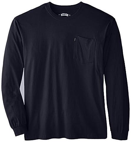 Key Apparel Men's Big-Tall Heavyweight Long Sleeve Pocket T-Shirt, Navy, 4X-Large/Tall