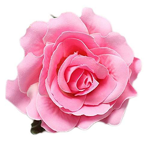 JoyRolly Frauen-süße große Rosen-Blüten-Blumen-Hochzeits-Haar-Klipp-Haarnadel-Brosche Pink+