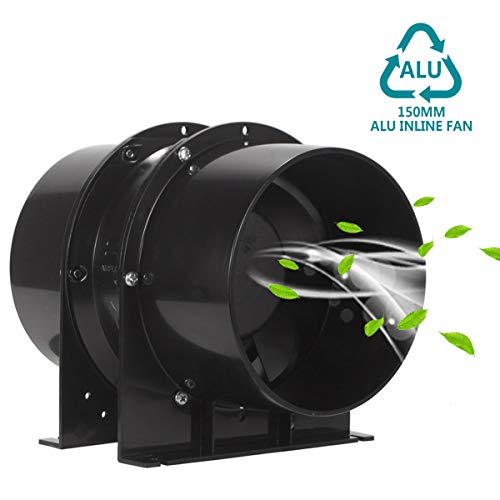 HG Power Abluftventilator 150mm Axial Rohrventilator Kanalventilator Metall Stark Inline-Lüfter Einschublüfter Absaug Rohrlüfter 323 m³/h Abluft Zuluft Ventilator Leise für Gehäuse Industrie etc -