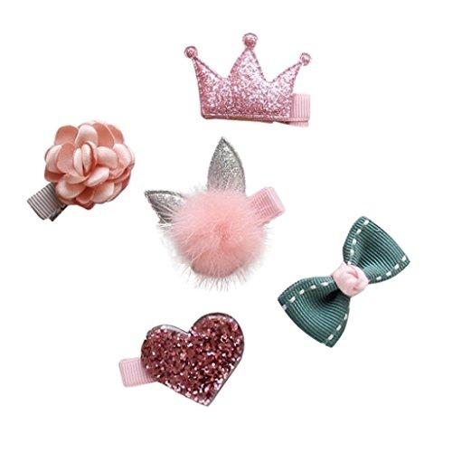 Mitlfuny 5 Stück Kinder Säuglingshaarnadel Kleine Bogen Blumen Barrettes Stern-Haarspange einstellen (Rosa) (Stoff Alligator Haarspangen)