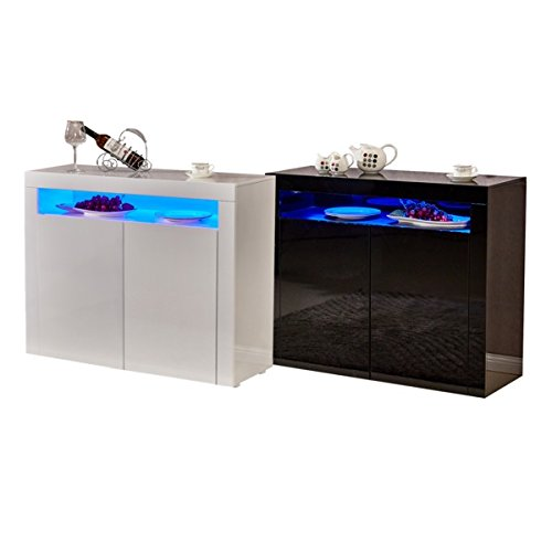 Sideboard Dining Room Living Storage Cabinet Cupboard With LED Lighting In Gloss Finish Black