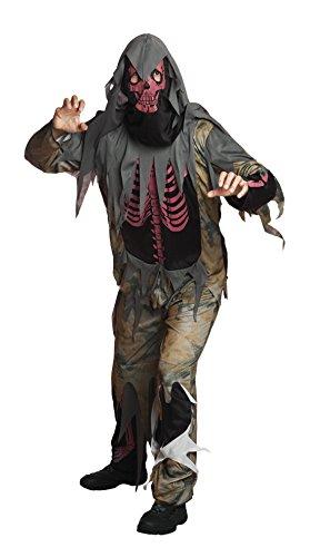 erdbeerloft - Herren Gruselkostüm, Skelett, Zombie, Fransen, Grau, Größe (Bösewicht Jungs Für Kostüme)