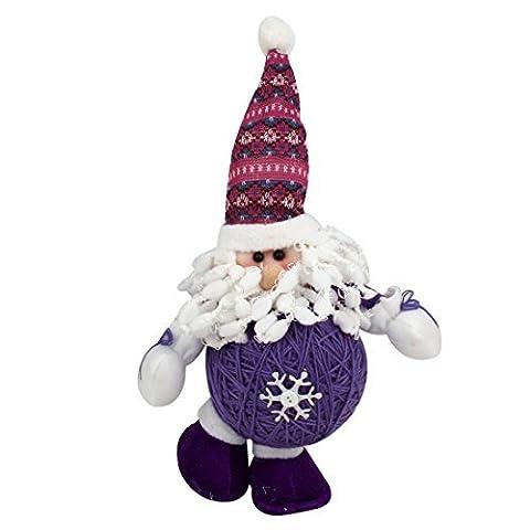 DealMux Weihnachtsmann Form Weihnachten Spielzeug-Puppe Lila Weiß für Weihnachtsbaum-Dekor