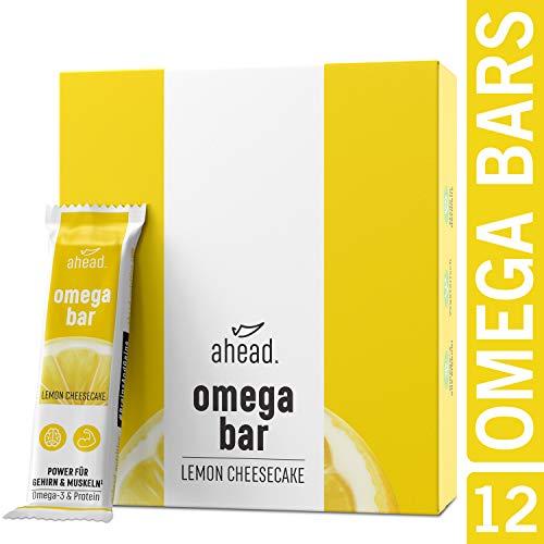 ahead OMEGA BAR 12er Box Energieriegel mit DHA Omega-3 für die Gehirnleistung¹ - Proteinriegel mit Hafer und Whey-Protein für Alltagshelden und Athleten - Lemon Cheesecake, 12er Pack (12x50g)