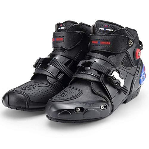 Sooiy Moto Stivali da Uomo Che corre Blindata Stivali Pesanti su Strada Motocross Morbido, Stivaletti Stivali da Equitazione,Nero,45