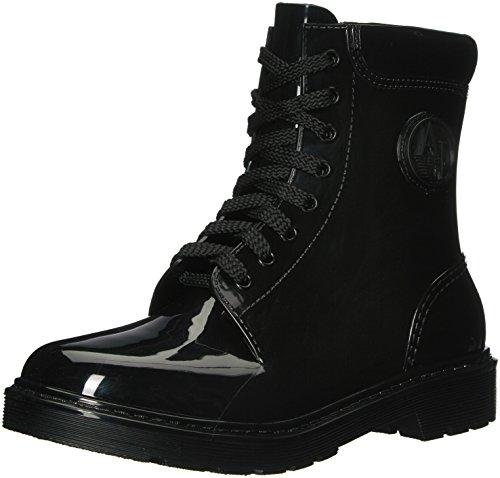 Armani Jeans Damen Stivale Combat Boots, Schwarz (Nero), 36 EU