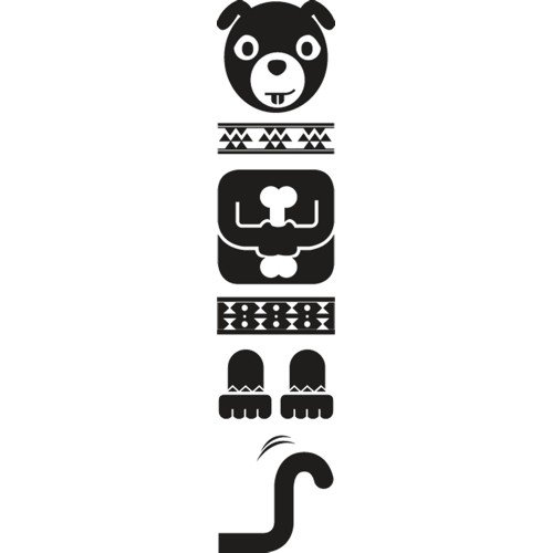 Set di adesivi Totem Dog, Nero