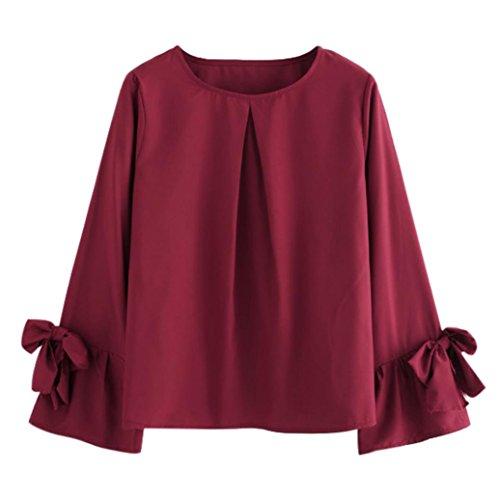 Bekleidung,DOLDOA Frauen Oberteil O-Ausschnitt Bowknot Langarm Bluse Pullover Sweatshirt (EU:46, Weinrot,Bowknot Langarm Oberteil) (Aqua-faltenrock)