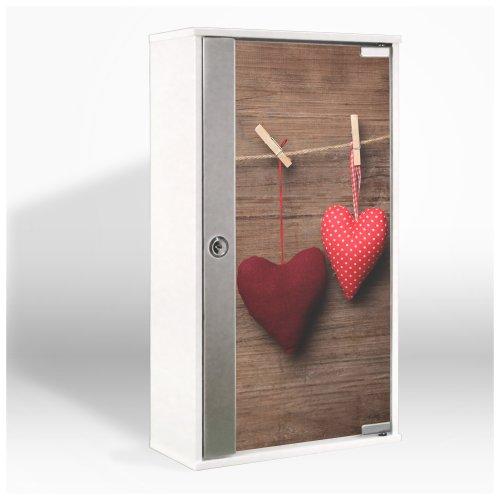 #Medizinschrank mit Glastür und Motiv: Herzen#
