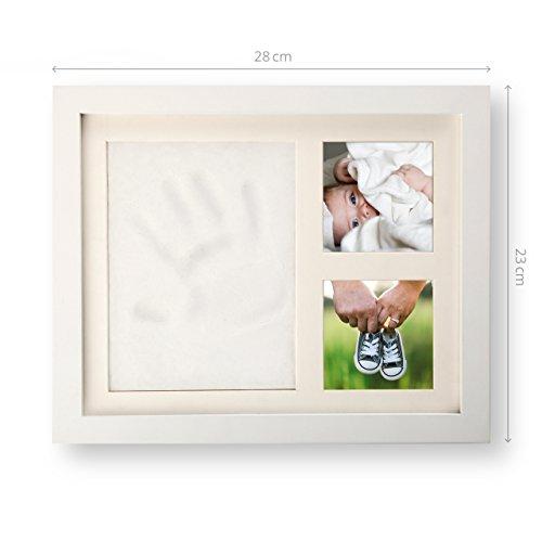 smileBaby Baby Bilderrahmen Set Hand- und Fußabdruck inkl. spezieller Knetmasse, Holzrolle sicherer Acrylglas Aufsteller weiß
