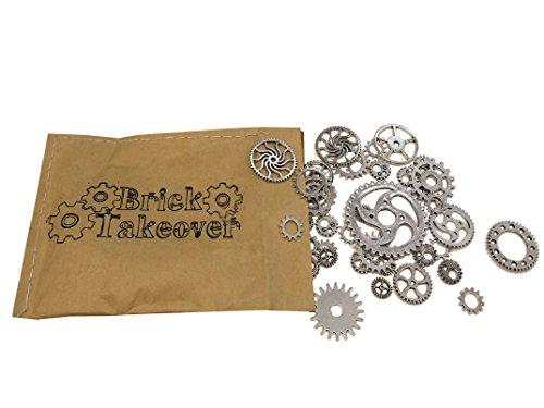 50x Steampunk Zahnräder Gothic Charms aus Metall - freie Farbwahl (silber)