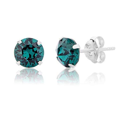DTPSilver - Damen Ohrringe 925 Sterling Silber mit Kristallen von Swarovski® Elements 8 mm Runde Ohrstecker - Farbe : Smaragd