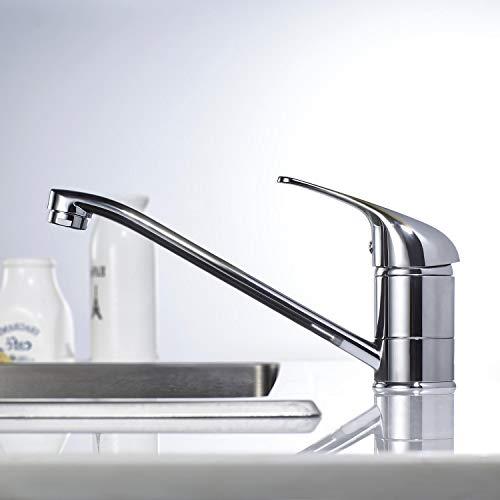 Einhand-Mischbatterie für Küche, WOOHSE 360° Drehbar Küchenarmatur Wasserhahn Küche, Spültischarmatur Armatur Küche, Waschtischarmatur für Bad Spülbecken Einhebelmischer, Lebenslange Garantie