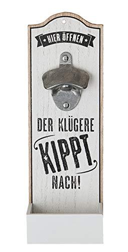 GILDE 1 x Wand-Flaschenöffner Metallöffner Kronkorkensammler Der klügere Kippt nach Höhe 30 cm, Wanddeko, Wandobjekt (weiß (Stückpreis), Holz