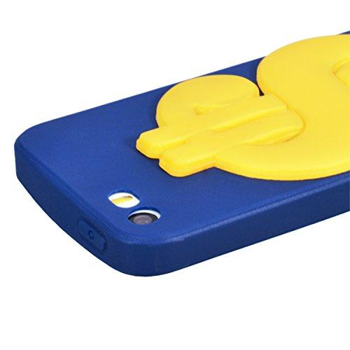 Yokata Cover per iPhone 5S / 5 / SE Silicone Disegni Rigida Case Originale Fantasia Divertenti Caso Custodia gel Gomma TPU Morbido Ultra Slim Impermeabile Antiurto Protettiva Shell + Penna - Giallo An Blu Frasi