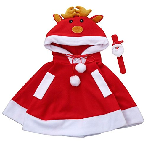 Kinder Weihnachten Kostüm, BURFLY Kapuzen Cosplay Cape Robe für Jungen Mädchen Umhang Cape (Rot, 130 CM) (Plaid Robe Flanell)