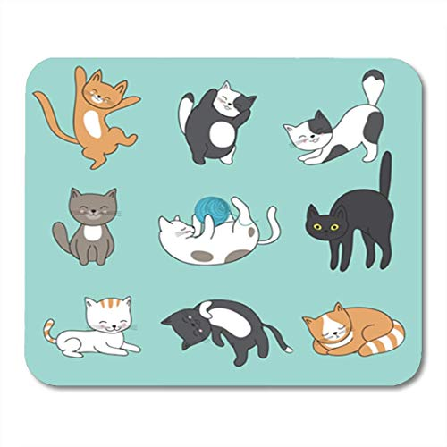 Gaming Mauspad Cool Doodle Abstract Cats Characters Cartoon Kittens Animal Funny Feline Mascot 11.8