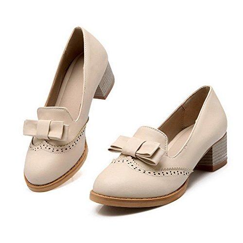 AgooLar Femme à Talon Correct Couleur Unie Tire Matière Souple Rond Chaussures Légeres Beige