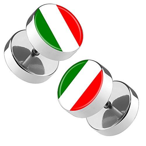Piersando Ohrringe Fake Ohr Plug Flesh Tunnel Piercing Ohrstecker Stecker Stab Runde Platte Fussball EM & WM Länderflagge Fanartikel Land Flagge Italien