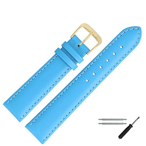 MARBURGER Uhrenarmband 18mm Leder Blau Glatt - 8071859000220