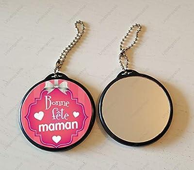 Porte Clé Miroir Bonne fête maman petit coeur - Idée cadeau Fête des mère Noël Anniversaire
