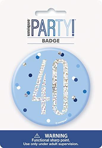 Unique Party 83521 - Insignia de cumpleaños, color azul y plateado