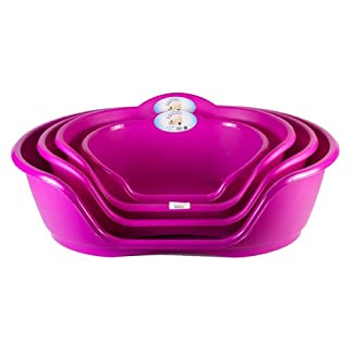"""World of Pets"" Pink Plastic Waterproof Dog Beds Baskets Available in 4 Sizes 1"