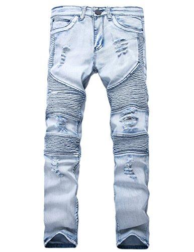Men's Fashion Slim Fit Sexy Destroyed Pants Trucker Punk Rock Pleats High-Elastic Bootcut Jeans Trousers