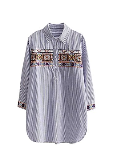 Azbro Women's Long Sleeve Embroidery Loose Fit Pullover Blouse blue