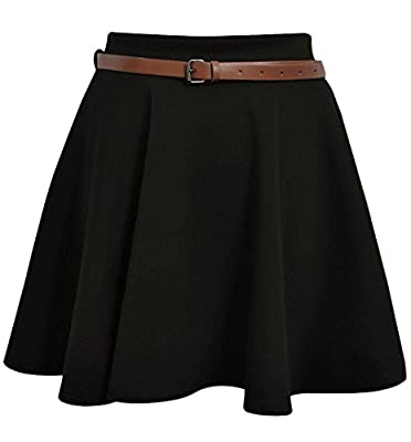 Skater Belted Stretch Waist Plain Flippy Flared Jersey Short Skirt Womens Size 8-14 : everything £5 (or less!)