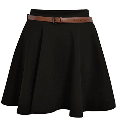 Girls Skater Belted Stretch Waist Plain Flippy Flared Jersey Short Skirt