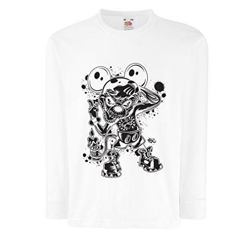 lepni.me Kinder-T-Shirt mit Langen Ärmeln Eine Maus mit Einem tollen Halloween-Party-Kostüm (7-8 Years Weiß Mehrfarben)