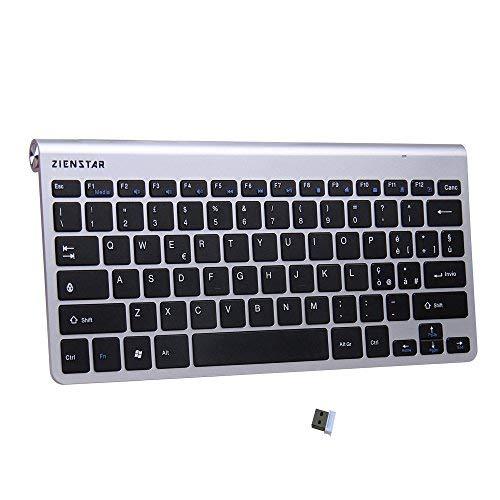 Zienstar 2.4Ghz Tastiera Senza fili con Ricevitore USB per Windows/IOS/Linux e Android Smart TV -Italiano Layout (Argento nero)
