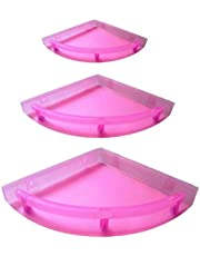 Babbar Kitchenexp : Unbreakable Crystal Clear Corner Set Plastic Bathroom Corner Shelves (Pack Of 3, Clear) Pink