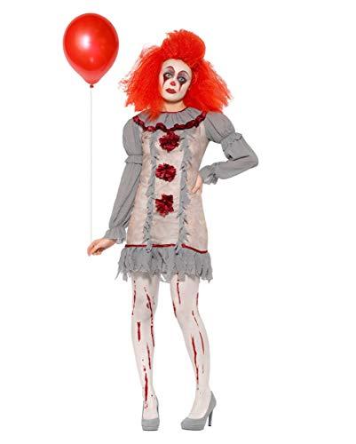 Vintage Horror-Clown Damen Kostüm für Halloween M (Böse Clown Kostüm Für Erwachsene)