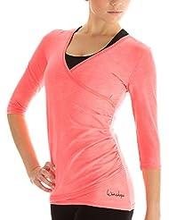 Winshape Damen 3/4-arm Shirt in Wickeloptik Fitness Yoga Pilates Freizeit