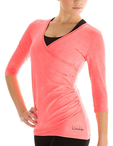 Winshape Damen 3/4-arm Shirt in Wickeloptik Fitness Yoga Pilates Freizeit, neon Coral, M