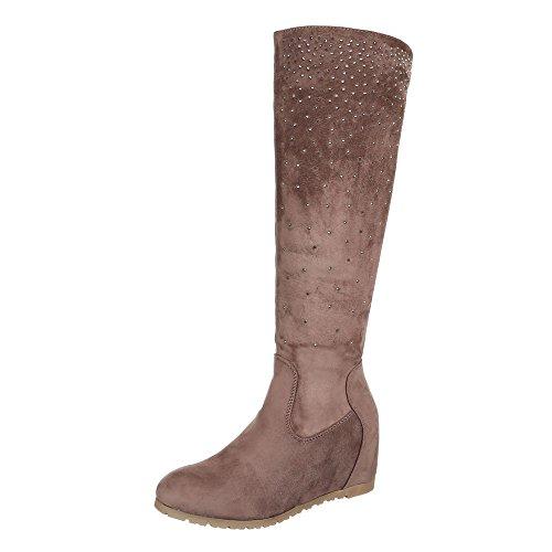 Keilstiefel Damen-Schuhe Keilabsatz/ Wedge Strass Deko Ital-Design Stiefel Hellbraun, Gr 38, E4889-