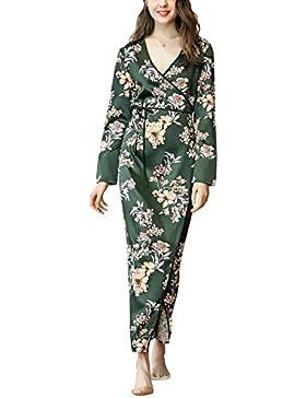346c5336bd Dolamen Donna Kimono Vestaglia Pigiama Sleepwear 2018 Raso di seta del  Fiori floreali Robe Accappatoio damigella