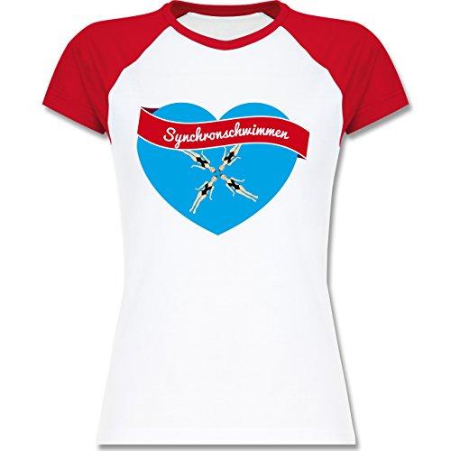 Wassersport - Synchronschwimmen - zweifarbiges Baseballshirt / Raglan T-Shirt für Damen Weiß/Rot