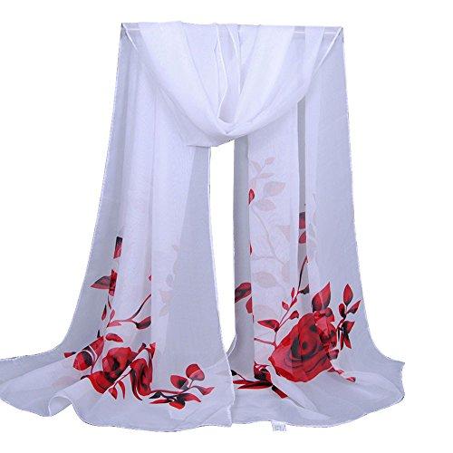 CANDLLY Schal Damen, Mode Damen Langer weicher Wickelschal Damen Schal Chiffon Schal Mode Lässig Schals(Rot,One ()