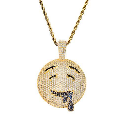 FATRWO Zirkon Halskette, Hip Hop Persönlichkeit Anhänger, Drool Ausdruck Anhänger, Modeschmuck, Geburtstag schöne Geschenkboxen,Gold