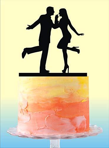des Paar Silhouette für Hochzeitstorten, einzigartiger Hochzeitstortenaufsatz, Kuchen Topper, Braut und Bräutigam ()