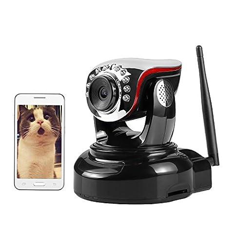 Nexgadget Caméra infrarouge de sécurité wifi sans fil alarme intérieur haut-parleur audio détection mouvement anti infrarouge Vision Nocturne P2P Pan Tilt Moniteur compatible avec smartphone iOS et Android