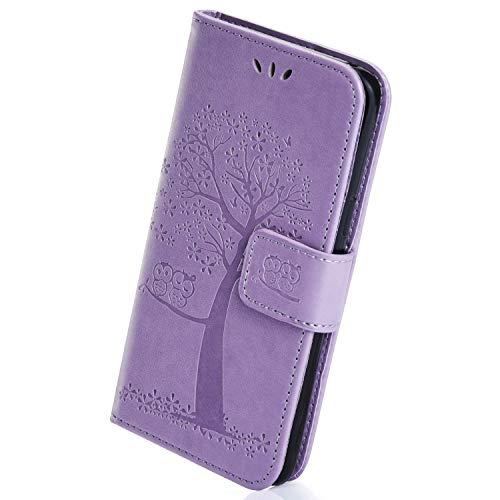 Herbests Kompatibel mit Huawei Y5 2018 Flip Hülle Handytasche Lederhülle Schutzhülle Klapphülle Dünn Ledertasche Book Case Handyhülle Eule Baum Tasche Hülle Flip Case Cover,Eule,lila