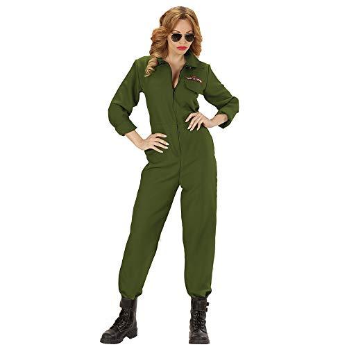 Spaß Frauen Kostüm - Widmann 88873 Erwachsenenkostüm Kampf Jet Pilot, Grün, L