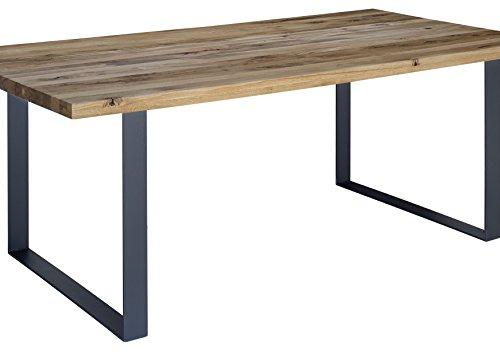 Table à manger 180x90cm - Métal et Bois massif de chêne sauvage huilé (Tabacco brown) - MONTREUX #314