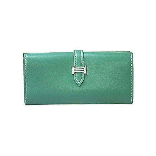 Porta passaporto per libretto degli assegni in pelle morbida di grande capacità delle donne di Ya Jin verde